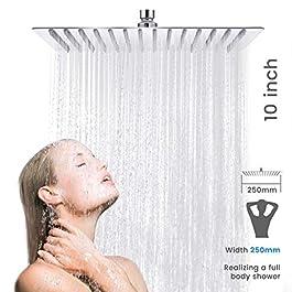 Baban Soffione doccia/Soffione 10 pollici piazza soffione cromato Acciaio superiore Disegno,25 CM Ø 25CM5 anni di…