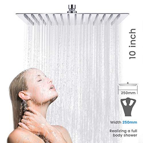 Baban Soffione doccia/Soffione 10 pollici piazza soffione cromato Acciaio superiore Disegno,25 CM Ø 25CM5 anni di garanzia