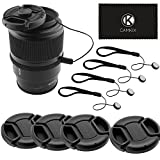 CamKix Lens Cap Bundle - 4 Snap-on Lens Caps for DSLR Cameras including Nikon, Canon, Sony - 4 Lens Cap Keepers / 1 CamKix Microfiber Cleaning Cloth included (52MM)