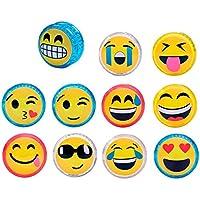 DISOK Lote de 12 Yo Yo Emoticonos con Luz - Yoyos Originales Emojis Divertidos para Niños, Infantiles. Regalos para Cumpleaños Infantiles, Detalles de Comuniones, Bodas niños Originales