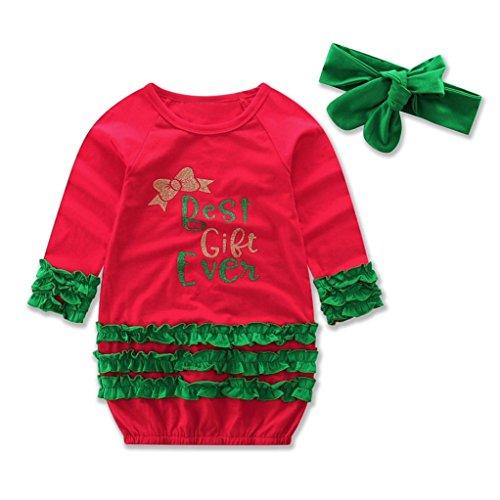 Amlaiworld Baby Mädchen langarm drucken Weihnachten Kleinkind gemütlich kleider,best gift ever,0-18Monate (Rot, 18 (Kostüme Best Boy)