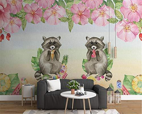 Nordic Modern Minimalist Dreidimensionale Tapete 3D Wallpaper Niedlichen Tier Blume Kinderzimmer Hintergrund-350x250cm (Und Creme Schwarz Tapete)