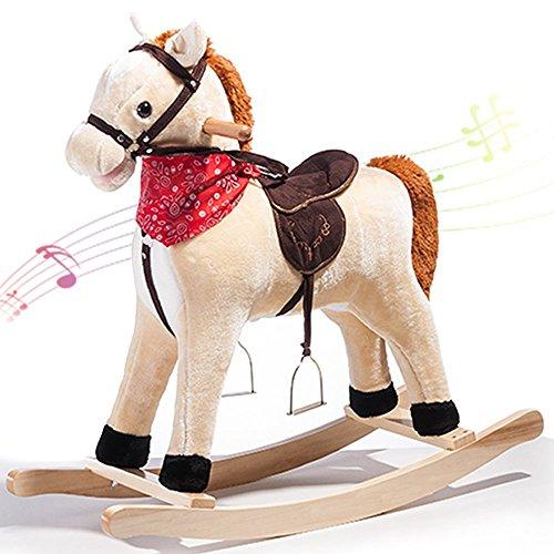 Schaukelpferd Schaukeltier Schaukelspielzeug Baby Schaukelstuhl Plüschschaukel mit Musik für Kinder und Baby (Beige-Pferd) Merax®