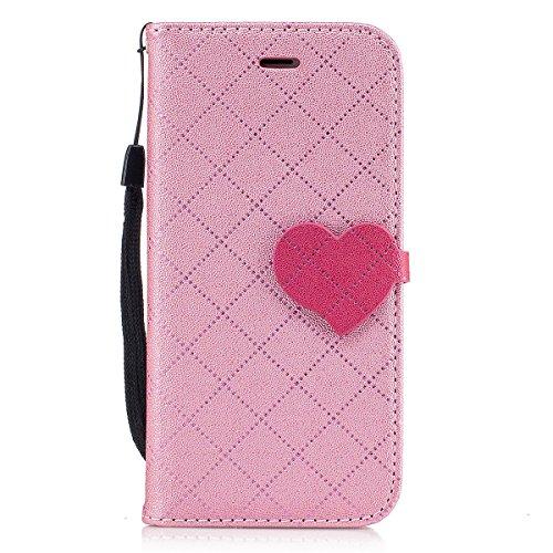 iPhone 7 Hülle, iPhone 7 Brieftasche, Lifetrut Grid & Heart Entworfen Magnetische Schützende Leder Flip Stand Brieftasche Hülle Case für iPhone 7 [Lila] E204-Rosa