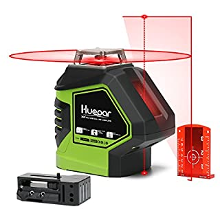 Huepar 621CR Self-Leveling Laser Level - 360 Red Cross Line with 2 Plumb Dots Laser Tool - 360° Horizontal Line Plus Large Fan Angle of Vertical Beam with Up & Down Points - Magnetic Pivoting Base