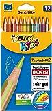 BIC Kids Tropicolors 2 Kinder Stifte - Buntstifte Set ab 5 Jahre mit bruchsicherer Mine & ohne Holz – Öko-Test sehr gut – 12 Stifte im Kartonetui