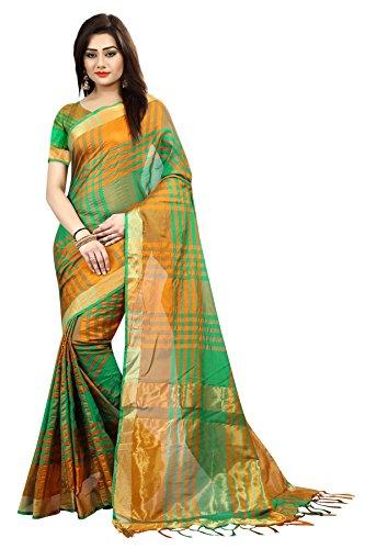 Purvaja Women's Kora Silk Sarees(I-kat-kota) (Green)