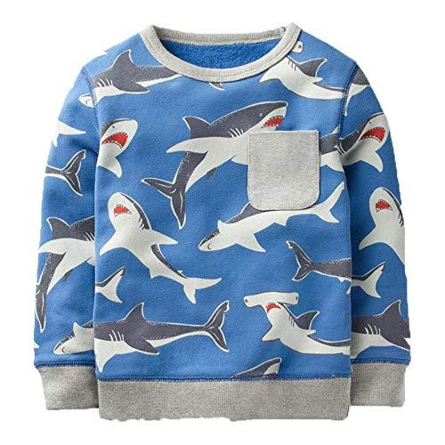 (Baby Jungen Sweatshirt Baumwollkarikatur Scherzt Lange Hülsen-T-Shirt Gestreift (3T, Sharks))