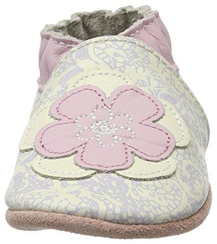 Robeez - Miss Flower, Scarpine e pantofole primi passi Bimba 0-24 Weiß (BLANC CASSE)