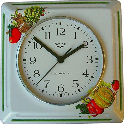 Küchenuhr Artline Funkuhr 'Vegetable Orchard' leuchtende Gemüse Grünrand viereckig Funkuhr