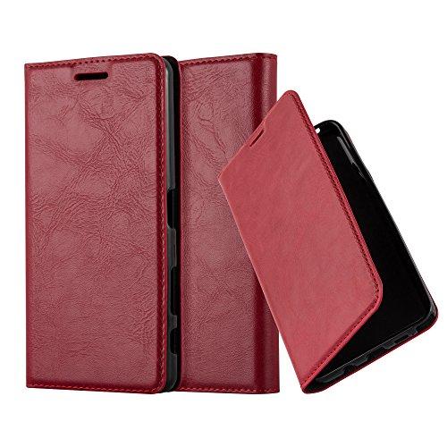 Cadorabo Hülle für Sony Xperia X Performance - Hülle in Apfel ROT – Handyhülle mit Magnetverschluss, Standfunktion und Kartenfach - Case Cover Schutzhülle Etui Tasche Book Klapp Style
