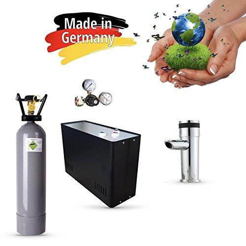 Sprudel aus dem Wasserhahn! Untertisch-Trinkwassersystem - Trinkwassersprudler Sprudel-Lok - NEUHEIT! inkl. 1-Weg-Zusatzarmatur MORA + CO2 Eigentumsflasche 6 kg und Anschluss-Set. Made in Germany