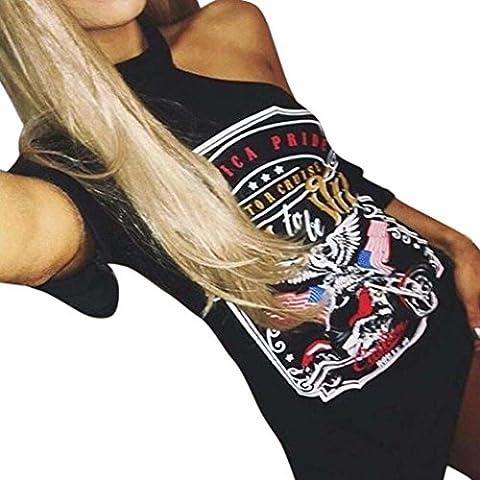 HOT!!! Amlaiworld Femmes Robe Vintage OFF style rock Shoulder Long t-shirt mini robe (S, Noir)