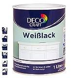 DECO CRAFT Buntlack Weißlack 2in1 Lack Grundierung Farbe seidenmatt innen außen 1 Liter