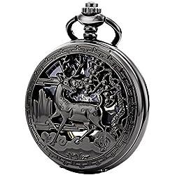 Treeweto - Reloj de bolsillo con doble cubierta de estilo vintage, carcasa hueca de esqueleto steampunk ciervo para hombres y mujeres, color negro