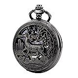 TREEWETO taschenuhr mit kette herren schwarz römische ziffern retro uhr hirsch rentier taschenuhren mechanisch pocket watch