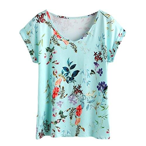 Mounter Sommerkleidung für Damen, lässiger V-Ausschnitt, weich, lockere Ärmel, Blumenmuster, T-Shirt, Größe 38-48 Gr. Large=42-44, blau -