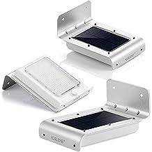 Lámpara Solar LED GRDE [3 Packs] Aplique 16 LED de Pared con Panel Solar, Luz Solar Aplique de Exterior con Sensor de Movimiento, Impermeabilidad y Refractario para Jartín, Patio, Camino de Entrada,