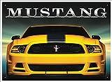Rot Hot Lemon 300x 410mm Weißblech/Metall Ford Mustang Wand Zeichen, Gelb/Schwarz