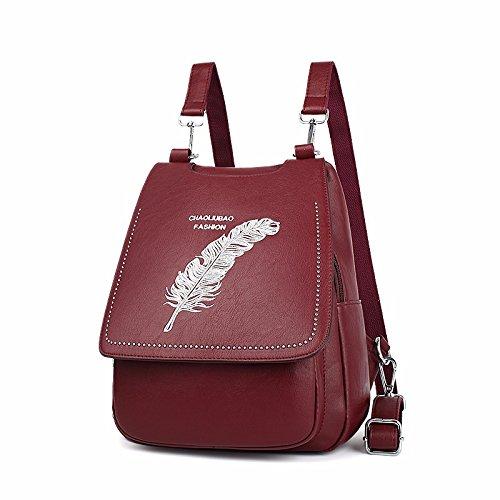 bestickt multifunktionalen frauen student reisetasche schultasche.,violet rotwein