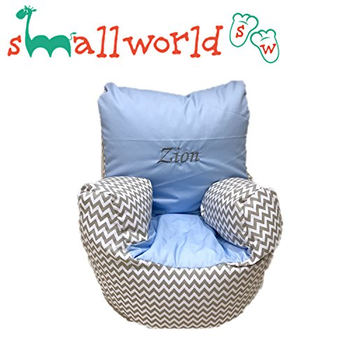 personalisierbar grau zickzack und Blau Kleinkinder Sitzsack