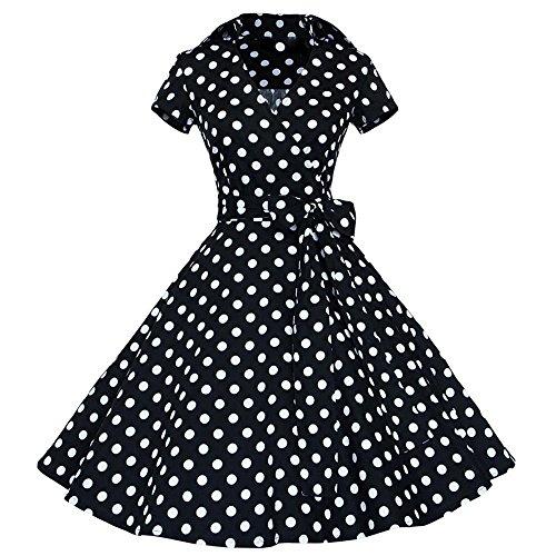 Vintage rétro 1950's Audrey Hepburn Jupe taille haute Point d'onde Manche Sans robe de soirée décontractée cocktail Noir