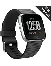 Kutop for Fitbit Versa Strap,Fit bit Versa Replacement Band Soft Adjustable Wristband Classic Accessory Sport Wrist Straps for Fitbit Versa Fitness Smart Watch Small Large Woman Man