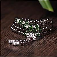 K&C preghiera tibetano perline 108 perline 0:24 pollici Naturale Bracciale Buddha buddista di Mala della collana di verde marrone - Legami Anima