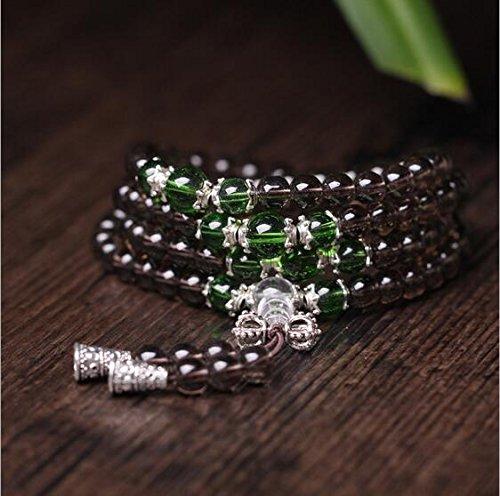 K&C preghiera tibetano perline 108 perline 0:24 pollici Naturale Bracciale Buddha buddista di Mala della collana di verde