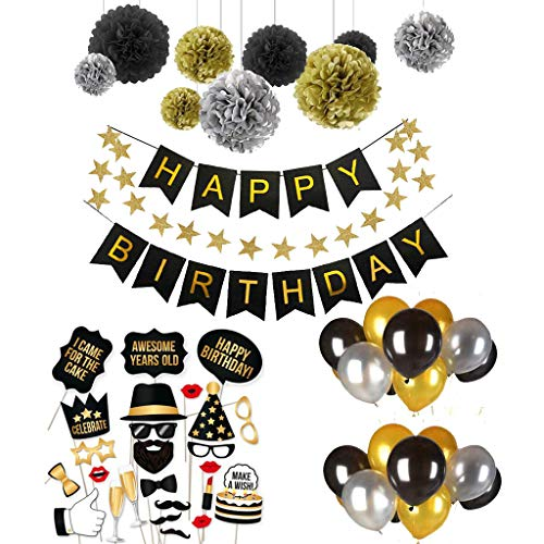 ekoration Set, 66 Stück Partei Dekorationen Happy Birthday Wimpelkette Banner Girlande mit Pompoms Papier Girlande und Luftballon Geburtstag Photo Booth - Schwarz und Gold. ()