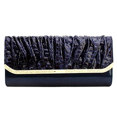 borsa in pelle borsa pochette afflusso di donne in Europa e in America nuova catena portafoglio pranzo del sacchetto di diamanti in vernice ( Colore : Painting Color ) Marina
