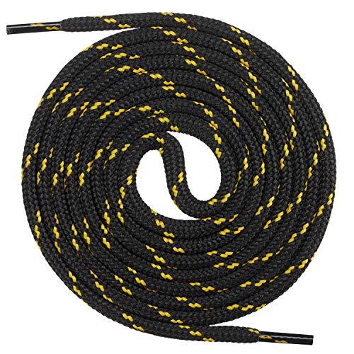 Mount Swiss runde Premium-Schnürsenkel für Arbeitsschuhe, Wanderschuhe und Trekkingschuhe - Polyester - ø 4,5 mm - sehr reißfest - Farbe Schwarz-Gelb Länge 100cm