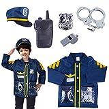 PHYNEDI 6 Pezzi Bambino Poliziotto Set Polizia Giocattolo Costume da Polizia, Composto da Manette e Fischietto, etc
