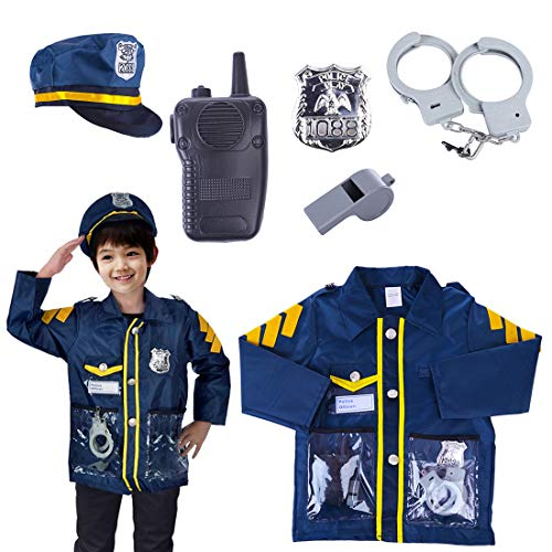 (Seciie Polizist Rollenspiel-Set für Kinder - 6 Stücke Polizei Kostüm Zubehör - Uniform, Polizeikappe, Handschellen, Medaille, Gegensprech, Pfeife)