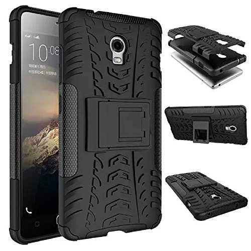 WOW Imagine Defender Tough Hybrid Armour Shockproof Hard PC and TPU with Kick Stand Rugged Back Cover for Lenovo Vibe P1 (Black)