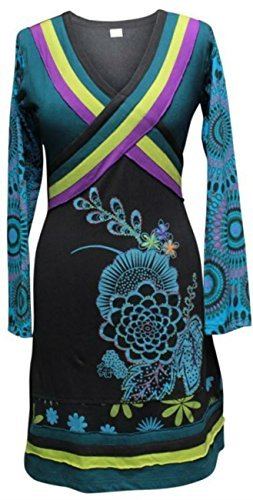 Shopoholic Mode Damen Mehrfarbig Kreuz Nacken Langärmlig Boho Hippie Kleid Mehrfarbig