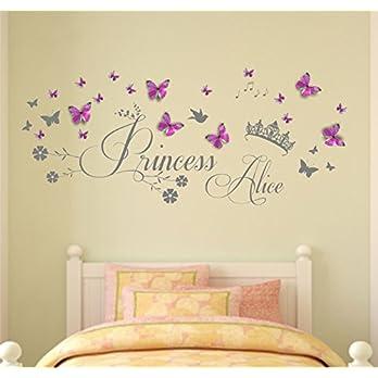 Personalisierter Name, Princess, Vinyl Wandkunst Aufkleber, Wandbild, Aufkleber mit Tiara und personalisierte 3D-Schmetterlinge. Kinderzimmer, Kinderzimmer, Spielzimmerdekor