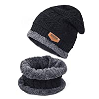 TAGVO Winter Beanie Hat Scarf Set Super Soft Fleece Inner Lining Great Warm, Stretchy Knit Beanie Cap Elastic Neck Warmer Snugly Fit for Women Ladies Girls Boys Adults Kids