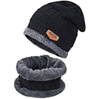 Tagvo Winter Beanie Hat Sciarpa Set Super Soft Fleece Fodera interna Grande caldo, elastico Berretto in maglia Berretto elastico Scaldacollo aderente per attività all'aria aperta Scaldamani quotidiano