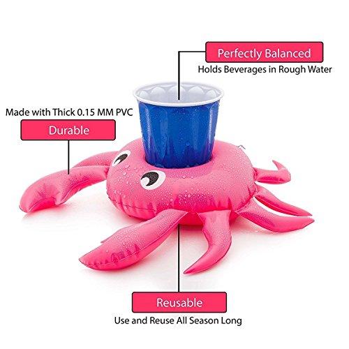 OCMCMO 12pcs Prácticos de costa inflables de la fruta posavasos de flotador unicornio inflador flamenco colchonetas y juguetes hinchables de niños adultos fiesta piscina Agregar 1* Bomba de aire