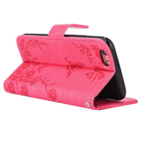 iPhone 6s Hülle,iPhone 6 Bling Tasche,iPhone 6s Lederhülle,TOYYM PU Leder Wallet Brieftasche Diamant Strass Bling Case Blume und Schmetterling Muster Design für Apple iPhone 6/6s,Bookstyle Schutzhülle Rose