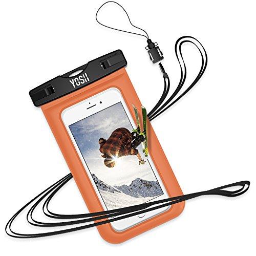YOSH Wasserdichte Handyhülle Schwimmen Schnorcheln Tauchen Wassersport, für iPhone X/8/7/6/6s Plus für Samsung S9/S8/S7/S6/S5/A5 bis zu 6 Zoll (orange)