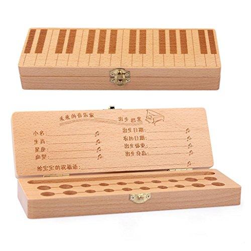Kinder Zähne Sammelkasten Klavier Muster Milch Zähne Federn speichern Box kreative Holz Produkte zahnärztliche Zimmer Baby Kind Memorial Box Geschenk