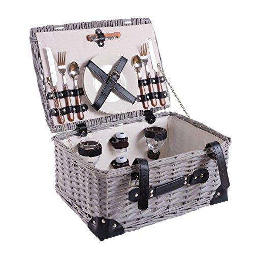Picknick Korb komplett Porzellan Geschirr 2 Personen Weidenkorb Picknickkorb Weidenholz Weidenpicknickkorb Picknickset (LYP15022)