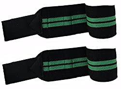 Kobo Power Wrist Weight Lifting Training Gym Straps With Thumb Support Grip Gloves (Pair)