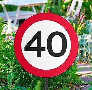 Folat Señal de Tráfico para Jardín con Pie, Motivo 40 Cumpleaños, Diámetro 26 cm - 1 Unidad