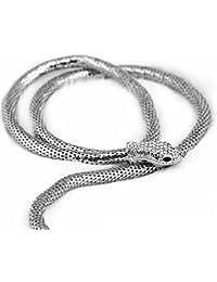 Collar De Serpiente De Aleación De Mujer Exagerado Diamante De Mosaico Largo Suéter Cadena De Oro Plata