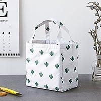 Preisvergleich für Yudanwin Leinwand-Lunch-Tasche Einfache Tragbare Bag Lunch gekühlte frische Lunch Bag (weiß, Kaktus)
