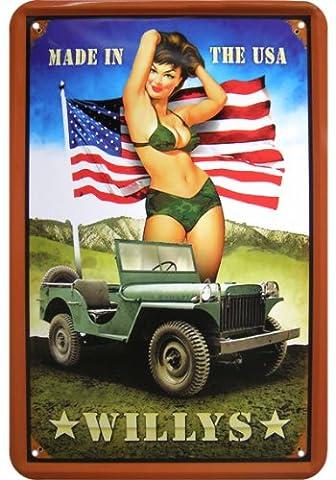 «willys jeep «pinup réplique publicitaire en tôle