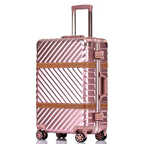HWYP Trolley Koffer 20 Zoll Leder Gepäckbox Universal Rad Aluminium Rahmen Gepäck Koffer weiblich Boarding Case 4 Größe - Leder Gepäck Griffe